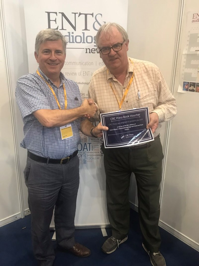 Congratulations to Duncan Ingrams, Consultant ENT H&N Surgeon from Aneurin Bevan University Health Board, winner of our Scott-Brown 8e competition at BACO 2018! Pictured here with co-editor Ray Clarke.jpg