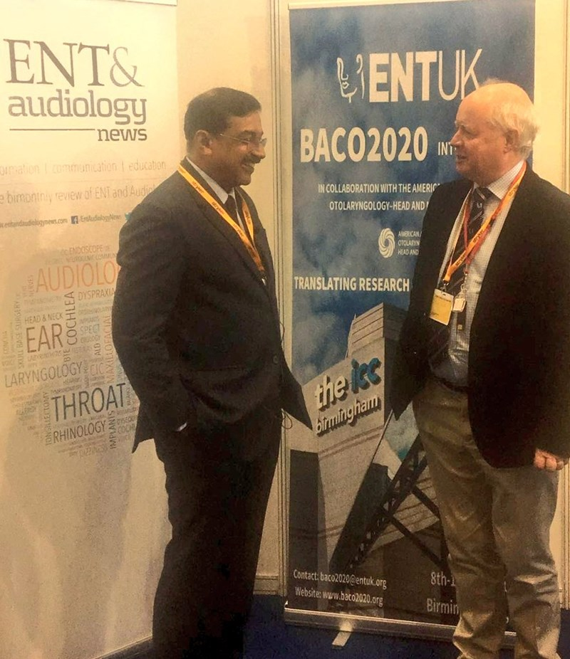 Prof Moran Kameswaran who's won the Nikil Bhat International Humanitarian Award of the @AAOHNS, chats to @2020baco Master, Prof O Donoghue at @ENT_AudsNews stand at #BACO2018 today.jpg